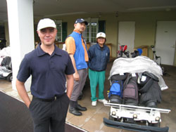 All in a day: Grant Prentice (above left) is the founder of Gaijin Golfers, a club that brings the Western-style social aspect of golf to Japan. Gaijin Golfers also welcomes English-speaking Japanese. Below: Prizes are awarded members after the competition. Bottom: Tor Dahlstrom shows off his furry gopher golf club cover, a prize he won for finishing fourth.