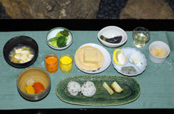 Tray  bon:  The eight-course meal prepared for guests who experienced a confusing taste of blindness during a recent Dark Dinner at Ryokusenji temple in Tokyo's Asakusa district.