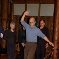 Issho Fujita demonstrates walking on a rope during a workshop on zazen practice at Sonoma Mountain Zen Center in Sonoma, Calif. | COURTESY OF JAKUB GOLEBIEWSKI AT THESONOMA MOUNTAIN ZEN CENTER