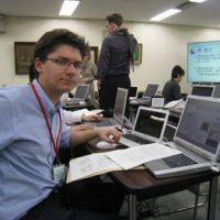 Back to school: Princeton Ph.D student Paul Kreitman learns how to use the databases at the National Diet Library. | EDAN CORKILL PHOTO