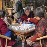 Passing the time: Old ladies play mahjong in a Chengdu teahouse, probably unconcerned like many other Chinese by the 2010 Nobel Peace Prize awarded to jailed intellectual Liu Xiabo. However, the government's splenetic reaction put a spotlight on Liu and the Charter 2008 he co-authored. | JEFF KINGSTON PHOTOS