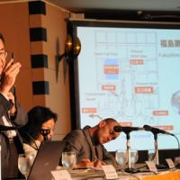 Pulling no punches: Masashi Goto, a former nuclear power plant designer with Toshiba Corp., a major manufacturer of the Fukushima Daiichi reactors, explains how dangerous the situation there now is during a press conference at the Foreign Correspondents Club of Japan in Tokyo on Tuesday, March 15. | SATOKO KAWASAKI PHOTO