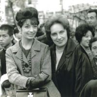 Standouts: Francoise Morechand and her mother in central Tokyo's Ginza shopping district in the 1950s, when there were only 300 French citizens in Japan. Formerly a major fashion-business player, Morechand is pictured here with designer Christian Lacroix. | COURTESY OF FRANCOISE MORECHAND