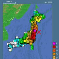 Shock and awe: Data from meters all over Japan, as seen at right, helped computers create this constantly updated map of shaking during the March 11 megaquake (above). | JAPAN METEOROLOGICAL AGENCY