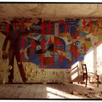 A communist mural in a building in Pripyat, Ukraine, where plant workers once lived.