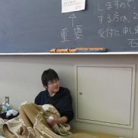 School's out: A refugee lives in a lecture room at Ishinomaki Senshu University, Miyagi Prefecture. The campus has been turned into a temporary crisis center.