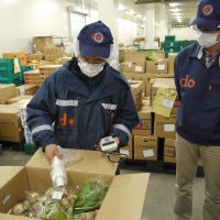 Boxing clever: Staff at a Chiba Prefecture depot of the Daichi wo Mamoru Kai mail-order food-delivery company carry out a radiation check on vegetables. | TOMOKO OTAKE PHOTO
