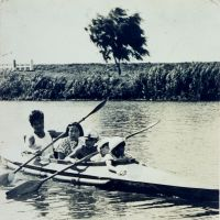 The Horiuchi family in a German faltboot being paddled by his father in the mid-1930s.
