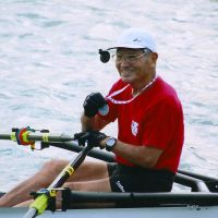 Champ: Horiuchi shows his over-80s gold at the 2010 World Rowing Masters Regatta.