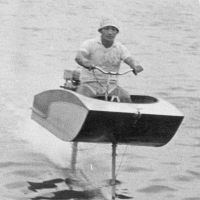 Riding high: Horiuchi on the motorbike-style hydrofoil he made in the 1950s.