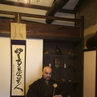 Randy Channell serves tea at his traditional Japanese tea and sweet shop, ran Hotei, in Kyoto. | COURTESY OF RANDY CHANNELL