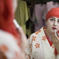 Isabella Onou, who goes by her professional name Fukutaro as a geisha,  prepares for her debut stage performance on June 30. | ROB GILHOOLY PHOTO