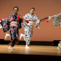 Fukutaro rehearses a dance with her colleagues prior to the performance.