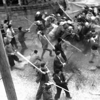 Union breakers: Armed thugs attack striking Miike miners on March 29, 1960. That day, one of those miners named Kiyoshi Kubo was stabbed to death by a mobster. | KYODO PHOTO