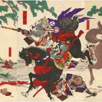 Intrepid: The female samurai Tomoe Gozen pictured in action in an 1899 print by Yoshu Chikanobu. At the Battle of Awazu (in present-day Ishikawa Prefecture) in 1184, she beheaded the enemy lord Onda no Hachiro Moroshige of Musashi after grappling him off his horse.