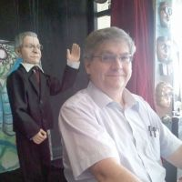 Stage double: Jesse Glass with a puppet of himself that sometimes takes a bow.