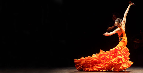Lady in red: Mayumi Kagita, one of the most famous flamenco dancers in Japan, performs in 'Kanki — The Rising Sun in Rhythm of Jerez' at Theater Villamarta in Jerez, Spain, in November 2005. | MIGUEL ANGEL GONZALEZ PHOTO