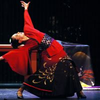 Kagita in 'Flamenco: The Love Suicide at Sonezaki,' which is based on a play written by Chikamatsu Monzaemon, one of Japan's greatest dramatists. The performance took place in Jerez, birthplace of flamenco, in Spain in 2004. | MIGUEL ANGEL GONZALEZ PHOTO