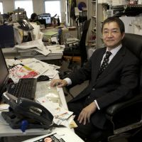 Hot seat: Journalist Shigeo Abe, who left a career at the prestigious Nikkei in disillusionment at the paper's practices. He later founded the monthly investigative magazine Facta, which in 2011 scooped Japan's richest media when it revealed the Olympus scandal. | ANDRONIKI CHRISTODOULOU