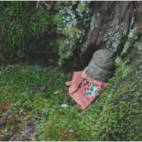 A fragment of a gravestone is wrapped in cloth and set up as a Jizo in Mount Koya in Wakayama Prefecture. | JOE ARCIDIACONO