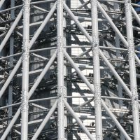 Built to last: The steel truss exterior of the 41,000-ton Sky Tree tapers from its triangular footprint to a cylinder surrounding the central concrete column that houses an emergency staircase of 2,523 steps. | BRETT BULL