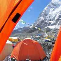 Quite a site: The view from my tent at Everest Base Camp.