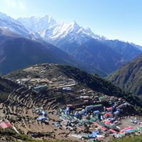Splendid isolation: Namche Bazaar, the Sherpa 'capital,' at 3,440 meters. Everything taken in has to be carried on two legs or four even building materials.