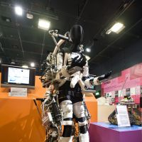 Looking ahead: Keijiro Yamamoto's Power Assist Suit being developed at Kanagawa Institute of Technology on show at the TEPIA exhibition space in Tokyo on June 12, 2012. An improved version is set for release soon.   ROB GILHOOLY PHOTOS