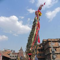 Party time: A chariot bearing an image of the rain god 'Red' Machhendranath stands ready to be paraded in Patan's lively annual festival held in April and May.