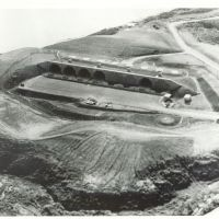 Ominous holes: An aerial photo shows the Mace missile base in Onna, Okinawa, in the early 1960s. | COURTESY OF LARRY JOHNSTON
