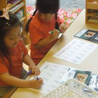 Children aged between 4 and 5 practice writing the English alphabet in class.