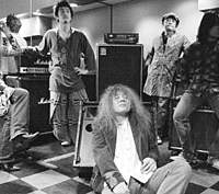 Playing psychedelic rock 'n' roll for the last 20 years has clearly taken its toll on Marble Sheep's Ken Matsutani (center).