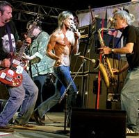 Not just a pretty bass. Mike Watt (far left) performs with The Stooges | PETER WHITFIELD PHOTO