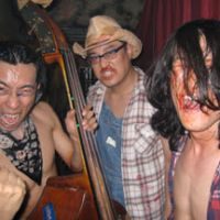 Horror show: Billy, Jet and Johnny of Ed Woods 'relaxing' backstage at the Explosion livehouse in Kagurazaka, central Tokyo, last week | SIMON BARTZ PHOTOS