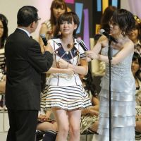 Election stunner: AKB48 member Atsuko Maeda reacts after winning the pop group's general election on June 9, 2011. The only winners of the general election so far have been Maeda and Yuko Oshima, who are both employees of talent agency Ohta Production. | KYODO