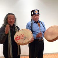 They bang the drums: New-age musician Kitaro (left) and Native American leader Dennis Banks meet up in Tokyo at a party that showcased their joint album, 'Let Mother Earth Speak.' | SACHIKO TAMASHIGE