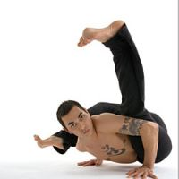 Yoga practitioner Duncan Wong gets ready for his performance at Shibuya Universal Society on Jan. 20.