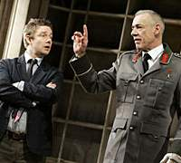 The Writer (played by Martin Freeman, left) struggles to outwit The Censor (Roger Lloyd Pack) in 'The Last Laugh.'