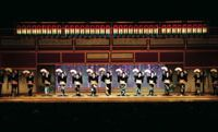 Chorus line: Geisha performers in the annual Azuma Odori dance gala in Tokyo's Shinbashi district, which has a long history with these traditional Japanese artisans. The 84th staging of the show runs from May 29 to June 1.