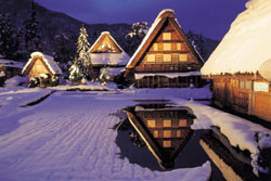 Picture perfect: The thatched-roof farmhouses in Shirakawa-go will be illuminated in the snow for seven days between Jan. 24 and Feb. 21. | SHIRAKAWA VILLAGE OFFICE