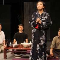 Mother's play: Misa Yoshino (second from right), plays the role of the late poet and novelist Kanoko Okamoto in 'Egeria,' a play based on Okamoto's life. | KENKI IIDA