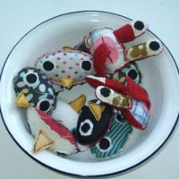 Bundle of happiness: Taisuke Abe's handmade toys sit in a bowl.