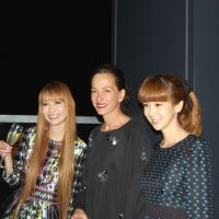 A decade of decadence: Designer Cynthia Rowley (center) poses with TV personalities Sakura Uehara (left) and Aki Hoshino (right) during a recent visit to Tokyo. Rowley was in the city to mark her 10th year of doing business here.   JFWO