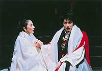 Rei Asami and Mansai Nomura (above) as Jocasta and Oedipus; Nomura's superb performance charts the incestuous  king's descent into madness (below).