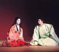 Bando Tamasaburo as Chujohime (left) and Ichikawa Danjiro as her lovesick half brother in 'The Mandala of Love Woven with Lotus Yarn' by Haruo Moriyama (below right with Tamasaburo) | COURTESY OF THE NATIONAL THEATER OF JAPAN