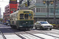 A tram moving through the Nagasaki streets