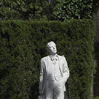 A statue of Giacomo Puccini, composer of the opera 'Madame Butterfly'