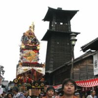 A float carried beneath the clocktower at Kawagoe's festival