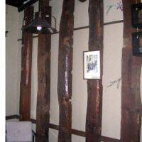 Wooden beams inside a room of the hotel.