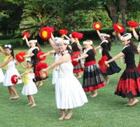 A local troupe of hula dancers at the Seaside Hotel in Kasai Rinkai Park